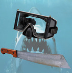 Hooper's Dive Mask used by Richard Dreyfuss and Quint's Machete used by Robert Shaw in Jaws.  (PRNewsFoto/ScreenUsed)