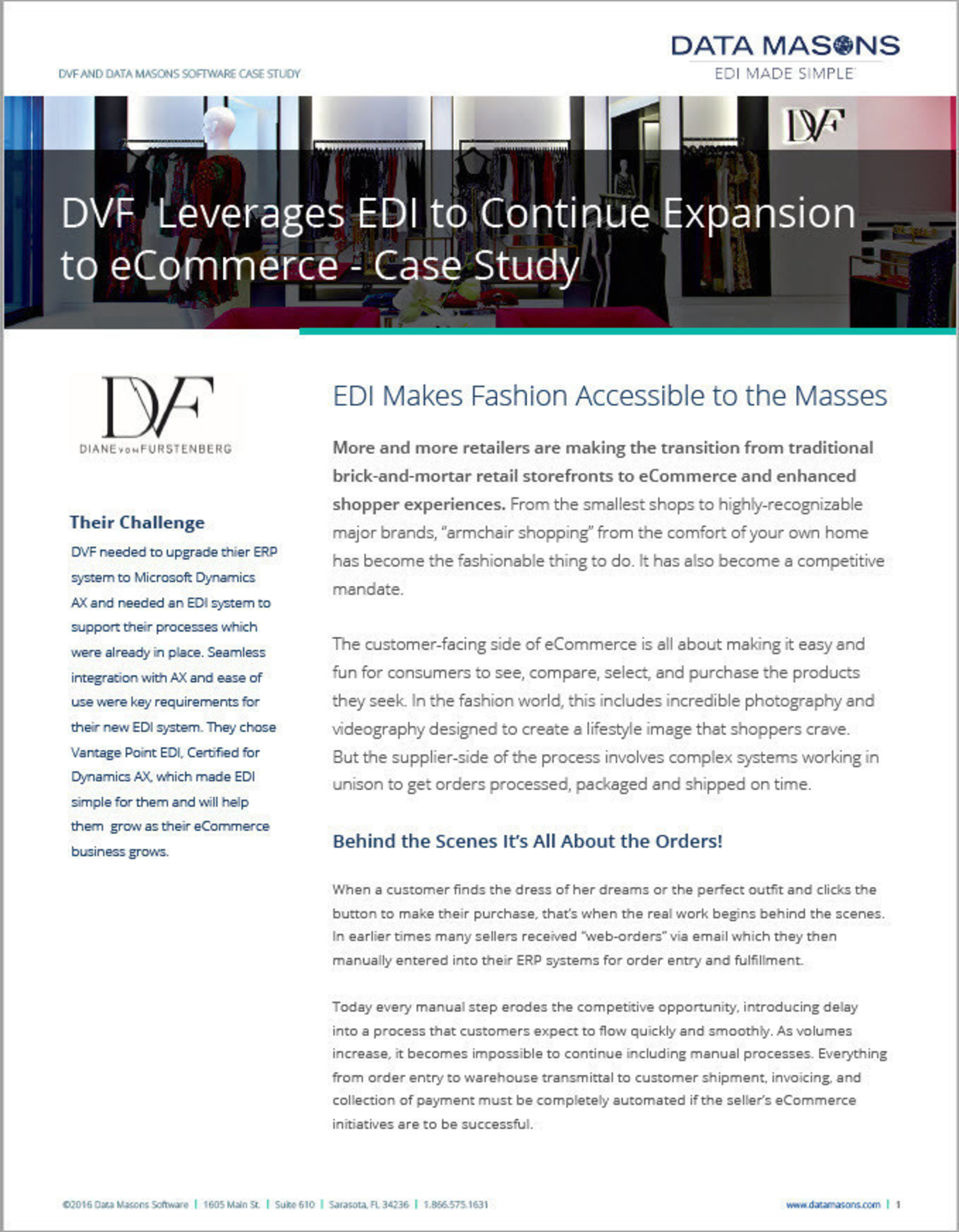 Diane von Furstenberg Selects Data Masons' EDI Made Simple' Solution for Microsoft Dynamics AX to Streamline Order Processing