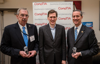A Texas congressman and a federal agency program manager who have promoted the wise use of federal dollars to improve the cybersecurity skills of those who work for the U.S. government were honored Tuesday by the Computing Technology Industry Association. The 2016 CompTIA Excellence in Cybersecurity awards were presented to Chris Kelsall (left), Branch Head, Cyber Workforce, U.S. Navy, and Congressman Mac Thornberry (TX-13) (right), Chairman House Armed Services Committee. Todd Thibodeaux (center), president and CEO of CompTIA, presented the awards during a ceremony in Washington, D.C.