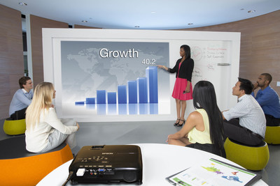 Utilize the Epson EX7235 Pro's high brightness to turn any surface into your next meeting room display.