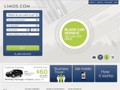 Limos.com for Business saves business travelers 40% on town cars.  (PRNewsFoto/Limos.com)