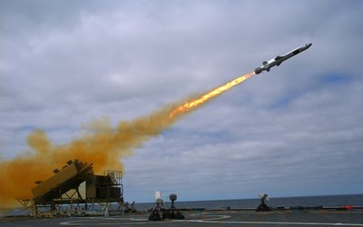 A Naval Strike Missile (NSM) is launched from the Littoral Combat Ship USS Coronado (LCS 4) during a Sept. 23, 2014, test off the coast of Southern California. US Navy photo.