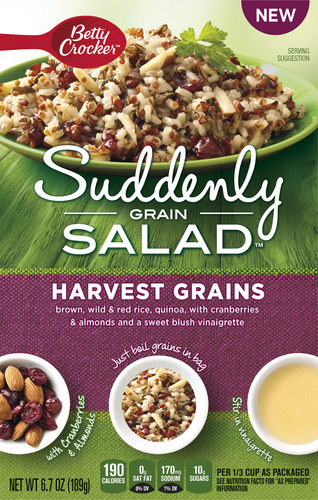 New Suddenly Grain Salad™ mixes hit the grain aisle with a completely new take on grains in a salad. Now consumers can get more whole grains into their everyday diets. Suddenly Grain Salad mixes are a wholesome blend of grains such as brown rice, wild rice, wheat berries and quinoa, paired with flavorful herbs and spices in a boil-in-bag format for convenient prep. Dried fruit, vegetables and/or nut mix-ins along with a zesty-flavored dressing packet are included to create a blend of bold flavors and textures. (PRNewsFoto/Betty Crocker)