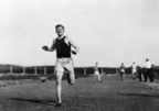 Legendary Native American athlete Jim Thorpe of the Sac and Fox tribe runs during track practice at the 1912 Olympics in Stockholm, where he would earn gold medals in both the pentathlon and decathlon, the first and only Olympian to accomplish such a feat. (Photo courtesy of Cumberland County Historical Society, Carlisle, Pa.) (PRNewsFoto/Smithsonian National Museum of the American Indian)