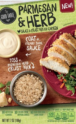General Mills announces the launch of The Good Table, a new dinner solutions brand line offering restaurant inspired sauce and crust mix for chicken and fish. The entire line of The Good Table products contain no artificial flavors, no colors from artificial sources and no high fructose corn syrup.