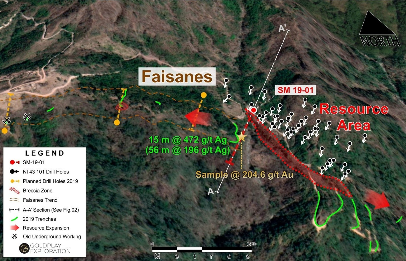 Figure 1: Drill Hole SM 19-01 Location at the Faisanes Target