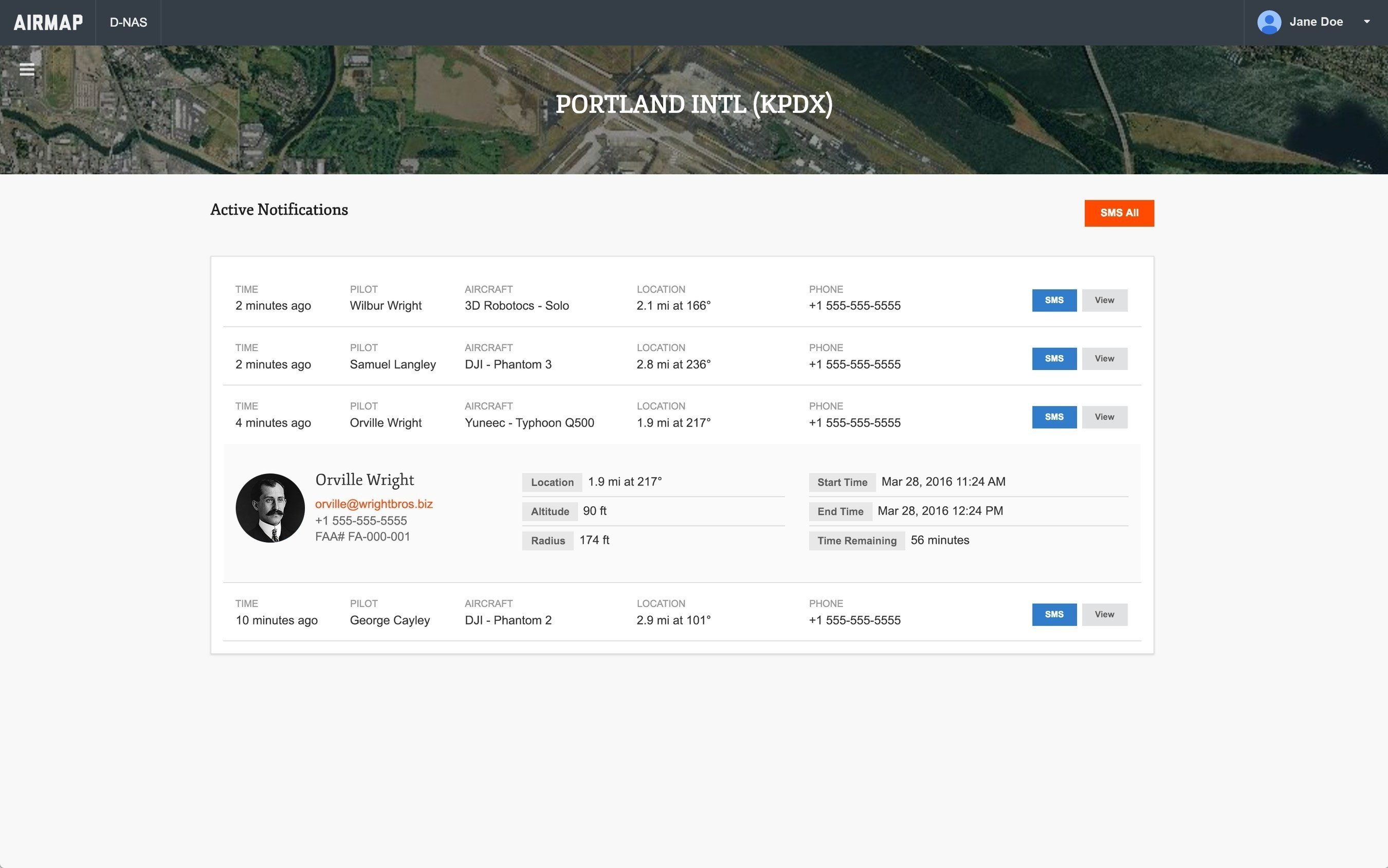 The AirMap Digital Notice and Awareness Dashboard(TM) airport manager view.
