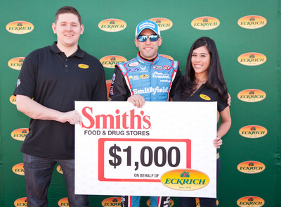 Retired Army Specialist Blaine Sullivan and his family were honored by NASCAR driver Aric Almirola and Eckrich Saturday before the race at Las Vegas Motor Speedway in Las Vegas, Nev.