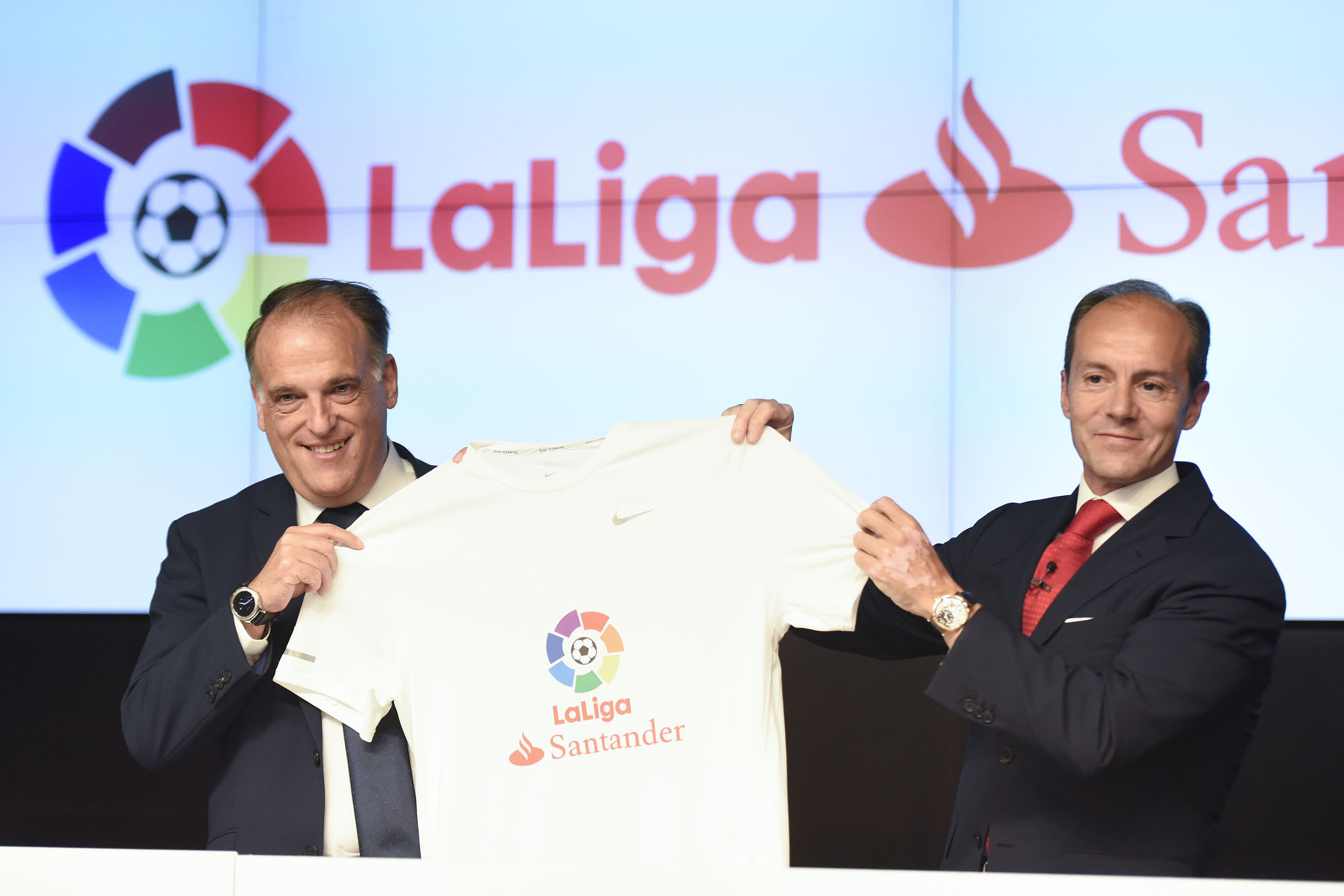 Javier Tebas, President of LaLiga, and Rami Aboukhair, General Manager, Banco Santander Spain, are pictured at the announcement of Santander's new sponsorship of LaLiga in Madrid.