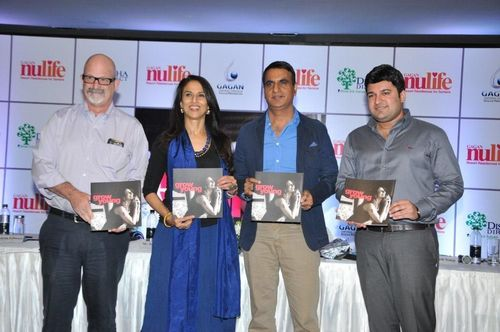 PR NEWSWIRE INDIA - L to R - Mr. Aaron Schwarz - MD - Perkins Eastman India, NULIFE Brand Ambassador - Ms. Shobhaa Dé, Mr. Santosh Naik - MD & CEO - Disha Direct, Mr. Alnesh Somji - Director - Gagan Group (PRNewsFoto/Disha Direct)