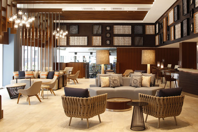 The lobby of Hilton Garden Inn Waikiki Beach. The hotel is the second HGI to open in Hawaii this year, the 700th location to open worldwide, and the largest HGI to open in history