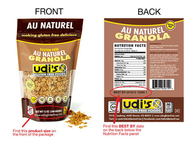 "Udi's Healthy Foods, LLC voluntarily recalls its 12-ounce bags of ""Udi's Gluten Free Au Naturel Granola"" with UPC 6-98997-80615-8 and ""Best By 041913 12265 1"" because they may contain undeclared almonds.  (PRNewsFoto/Udi's Healthy Foods, LLC)"