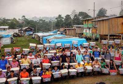 Beneficiaries with their aid relief packages. (PRNewsFoto/Emmanuel TV)
