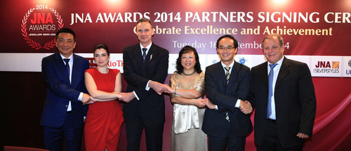 Key partners reaffirm support for JNA Awards 2014. (Pictured from left) Lin Qiang, President and Managing Director of Shanghai Diamond Exchange; Rita Maltez, Manager of Rio Tinto Diamonds, Greater China Representative Office; Wolfram Diener, Senior Vice-President of UBM Asia; Letitia Chow, founder of JNA and Director of Business Development - Jewellery Group, UBM Asia; Kent Wong, Managing Director of Chow Tai Fook Jewellery Group and Moti Ganz, Chairman of Israel Diamond Institute Group of Companies.  (PRNewsFoto/UBM Asia Ltd)