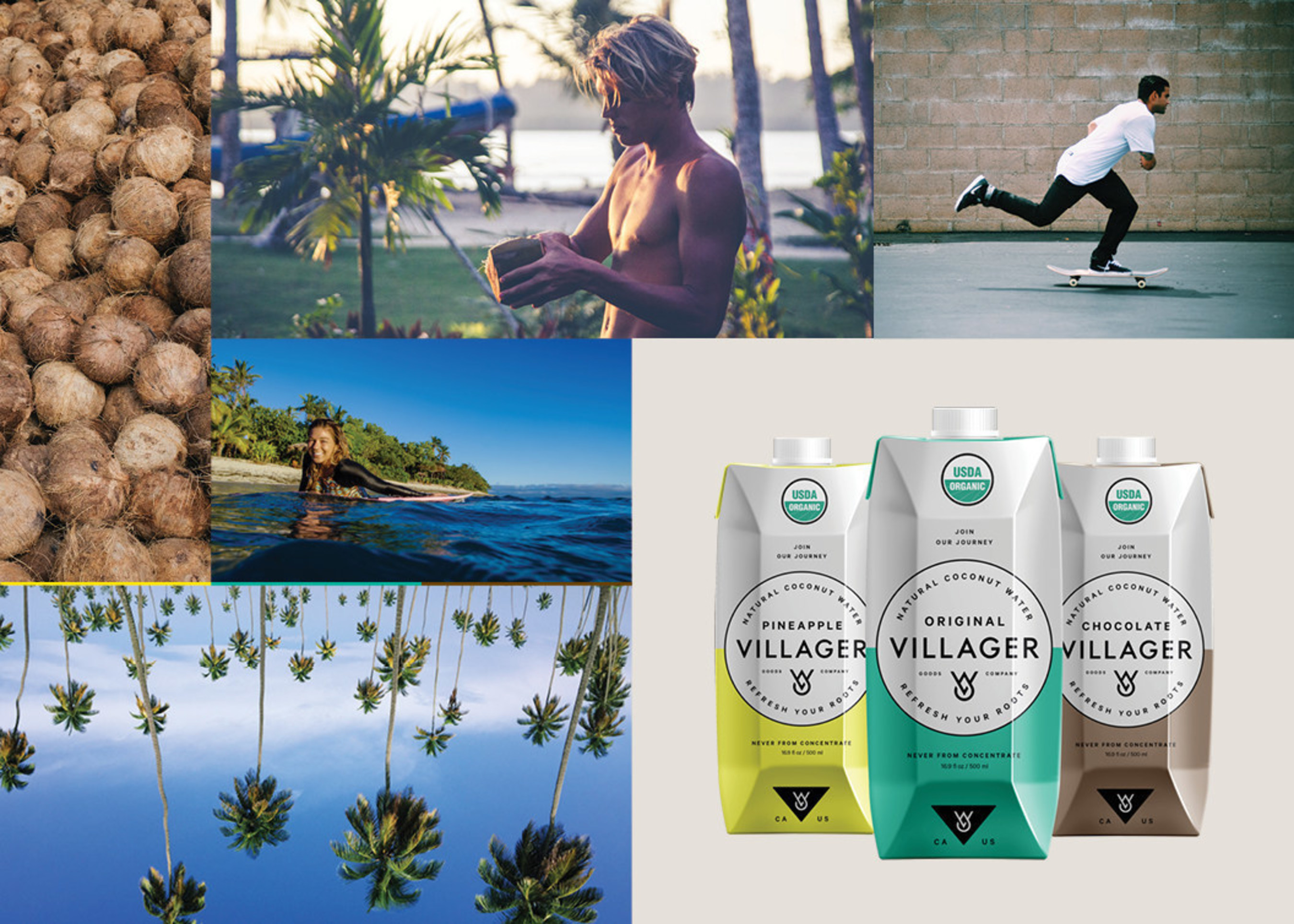 Villager Goods To Launch Coconut Water This Fall 2016 With 26 Of The World's Top Surfers, Skateboarders And Snowboarders