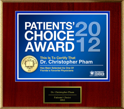 Dr. Pham Of Naples, FL Has Been Named A Patients' Choice Award Winner For 2012.  (PRNewsFoto/American Registry)