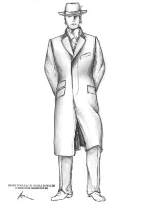 Sketch of Henry Poole coat & hat, part of The English Gentleman presentation in collaboration with The Woolmark Company
