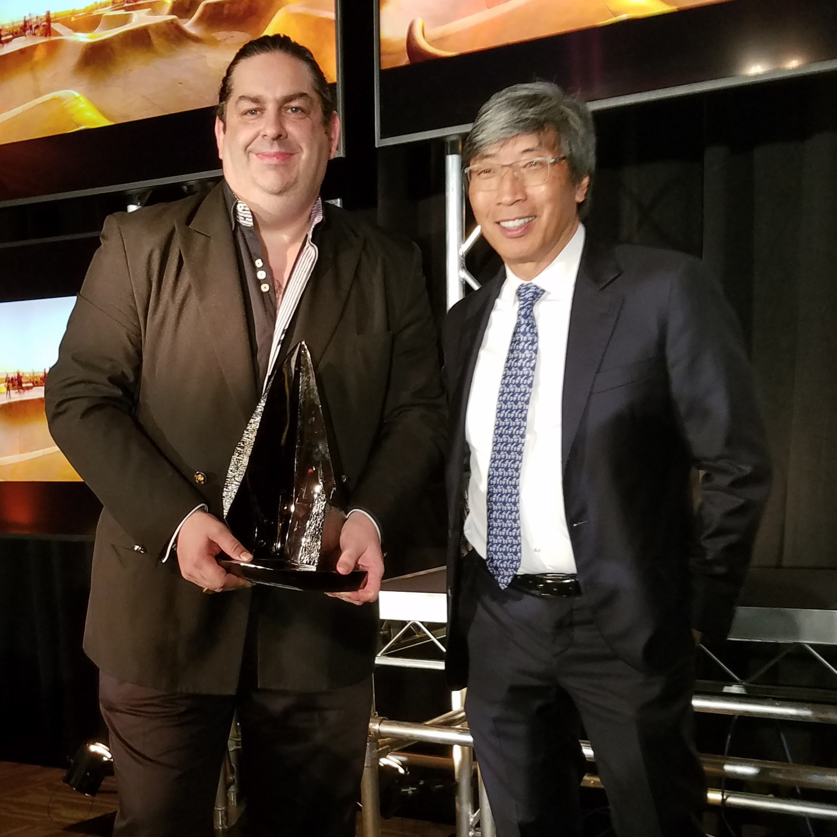 Scorpion Computer Services, Inc. CEO and founder Walter O'Brien with Dr. Patrick Soon-Shiong.