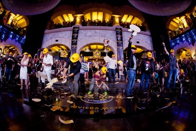 Hard Rock Hotel Riviera Maya opens with the iconic Hard Rock guitar smash. This is the fourth hotel in the All Inclusive Collection.  (PRNewsFoto/Hard Rock International )
