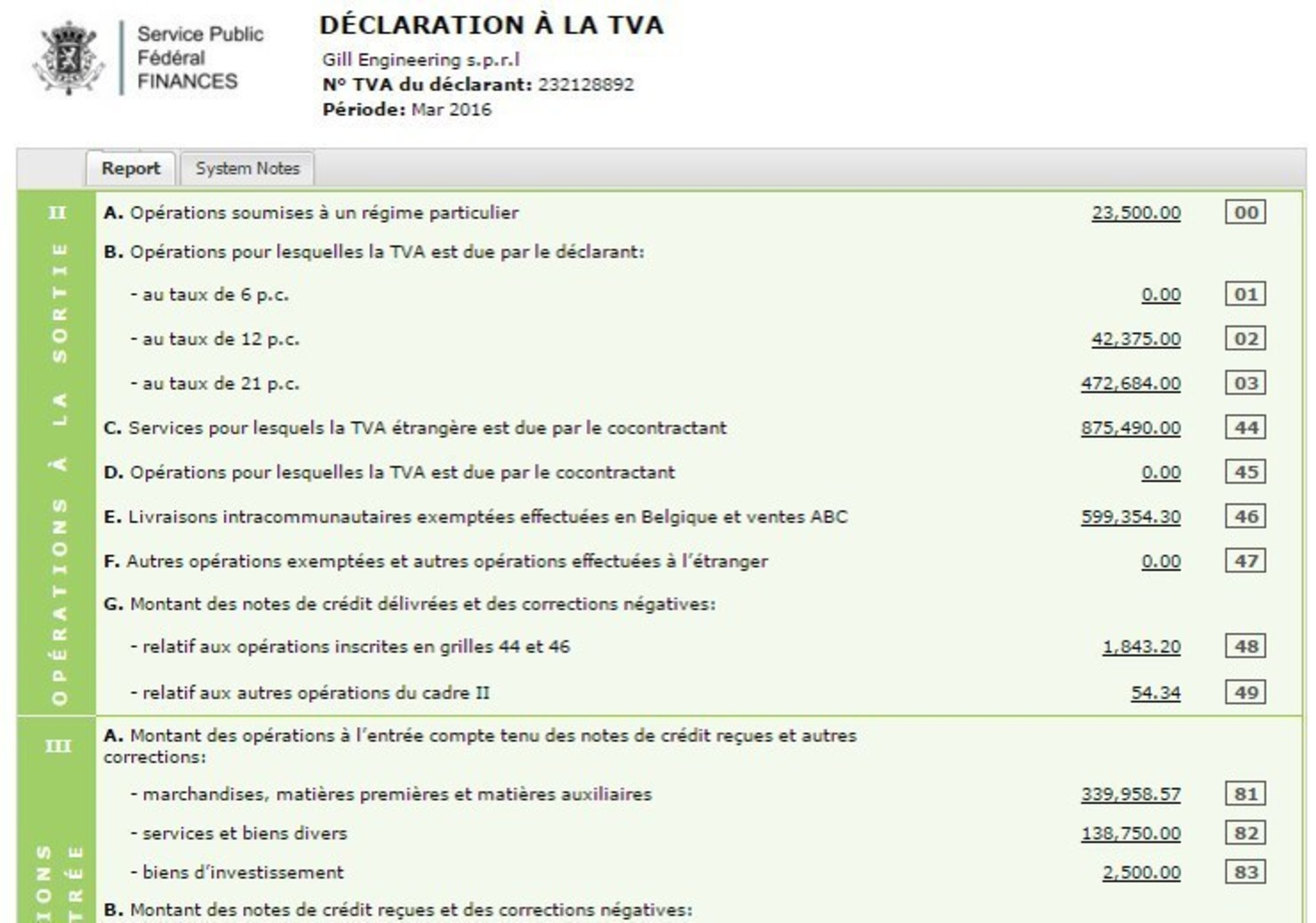 NetSuite Belgium - TVA Declaration
