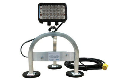 The WAL-M-LED72-120 LED work light from Larson Electronics produces 4,320 lumens of brilliant illumination. This compact 120 volt work light comes attached to an aluminum three leg bracket equipped with three 200 lbs grip magnetic feet that allows operators to easily mount this unit to any ferrous metallic surface. This light can be mounted overhead, on tank walls etc and will stay firmly in place. This unit includes a waterproof step down transformer to operate the low voltage LED light emitter off standard 120V current.  (PRNewsFoto/Larson Electronics)