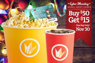 Regal Entertainment Group announces Cyber Monday eGift Card offer: Buy $50 in eGift Cards and receive a $15 ePromotional Concessions Card for free. Source: Regal Entertainment Group.