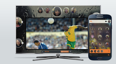 Rabbit's video chat application using Samsung's Multiscreen SDK to create a true social TV experience.  (PRNewsFoto/Rabbit)