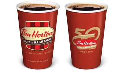 Tim Hortons 50th Anniversary Hot Beverage Cup.  (PRNewsFoto/Tim Hortons)