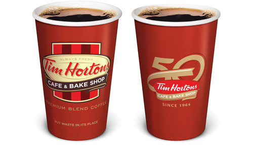 Tim Hortons 50th Anniversary Hot Beverage Cup. (PRNewsFoto/Tim Hortons) (PRNewsFoto/TIM HORTONS)