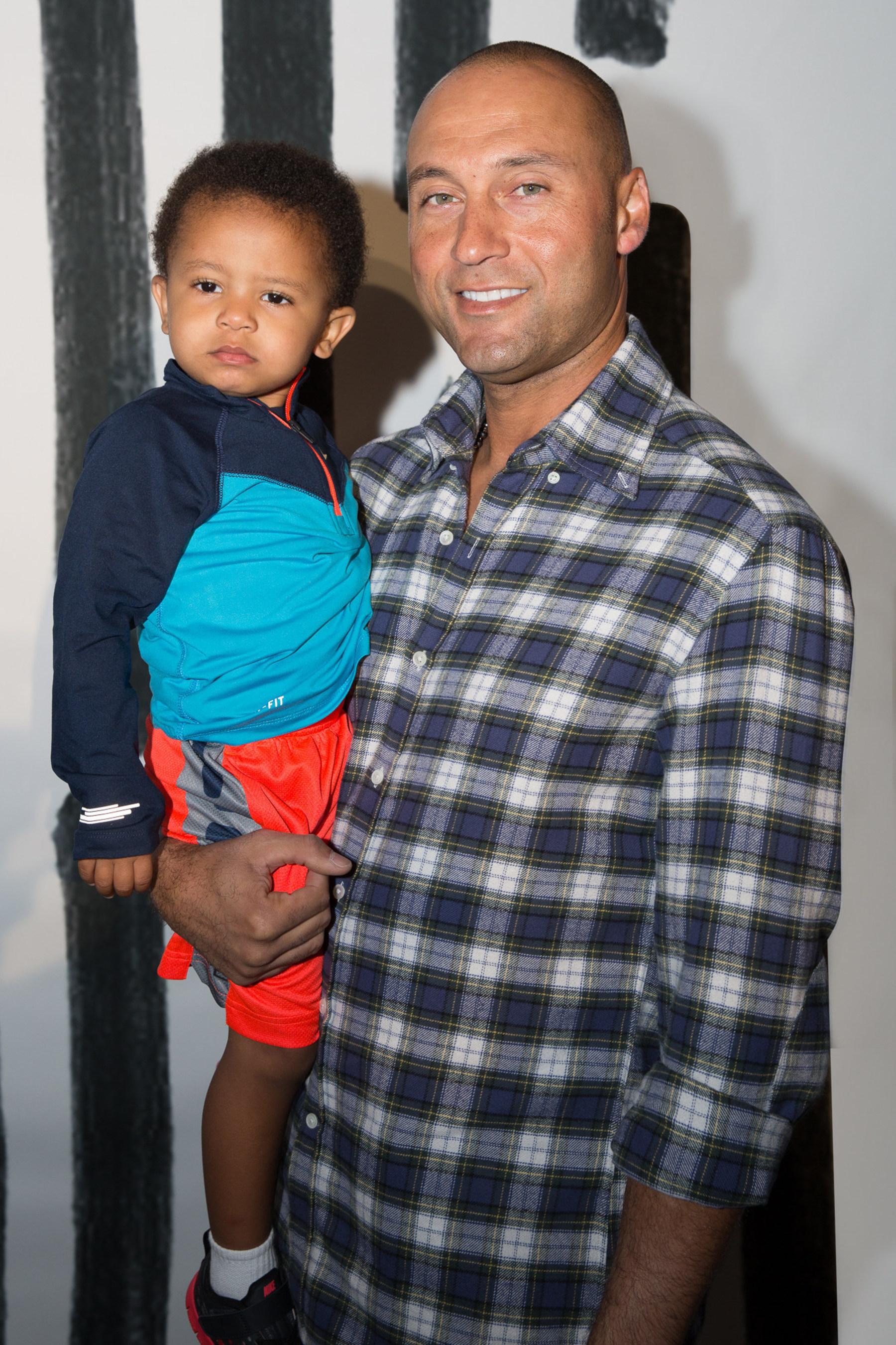 Derek Jeter and his nephew at the Kids Rock! Fashion Show (PRNewsFoto/Haddad Brands)
