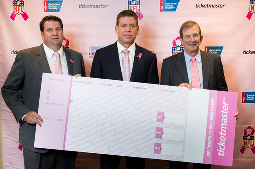 Hall of Fame QB and NFL Ticket Exchange Spokesman Troy Aikman (center) joins Ticketmaster SVP Clay Luter (left)  ...