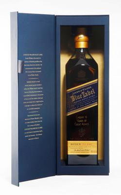 Engraved bottle of Johnnie Walker Blue Label.  (PRNewsFoto/Johnnie Walker)