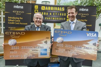Barry Green and Michael Donald sign up to a new UK credit card partnership and launch the new Etihad Guest Credit Card Account.
