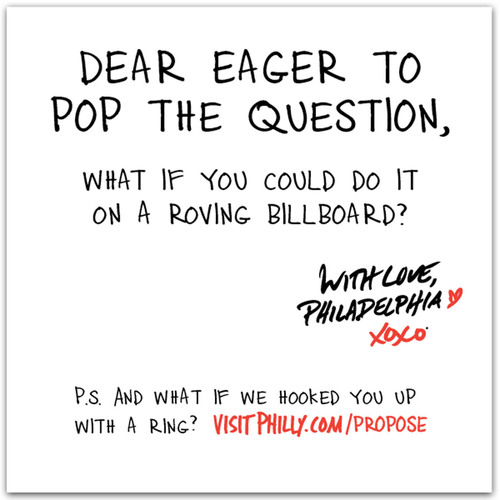 Romantics looking to propose to their loved one in a big way have a chance to do just that thanks to GPTMC's With Love, Philadelphia XOXO contest. (PRNewsFoto/Greater Philadelphia Tourism Marketing Corporation) (PRNewsFoto/GPTMC)