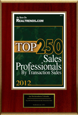 "Jay Heckendorn-Telenda Selected For ""Top 250 Sales Professionals By Transaction Sides"".  (PRNewsFoto/American Registry)"