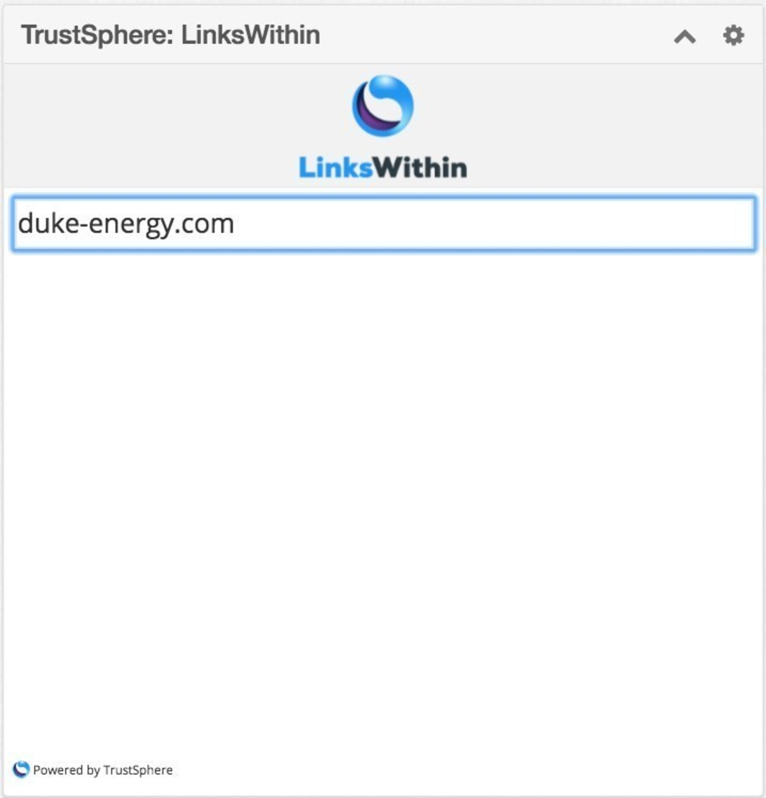 The LinksWithin in Sugar dashlet. Enter any domain or email address in the search bar.