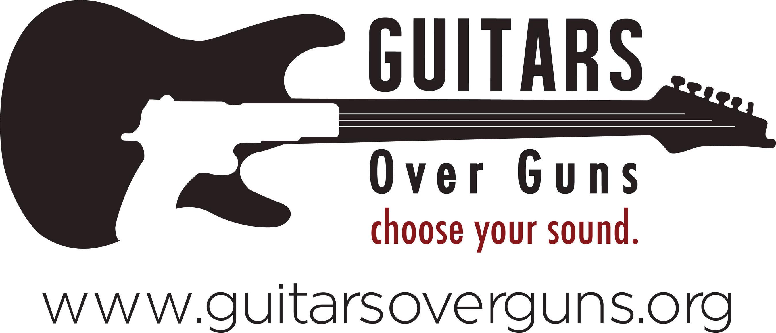 Guitars Over Guns Logo. www.guitarsoverguns.org.