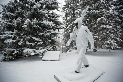 On Veterans Day, snow blankets the 10th Mountain Division Soldier Statue in Vail, Colorado. It pays tribute to the 18,000 brave soldiers who trained for the U.S. Army in harsh mountain conditions in nearby Camp Hale in preparation for alpine battle during World War II.