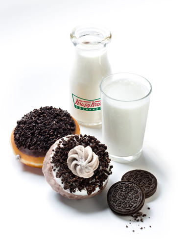 Your sweet dreams have come true! Krispy Kreme(R) - has created a new way to enjoy tasty doughnuts and cookies with two yumbelievable new treats topped and filled - with OREO(R) goodness.  Cookies and KREME(TM) Doughnut Made with OREO and Cookies and KREME(TM) Cake Doughnut Made with OREO are available now through April 21st at participating Krispy Kreme locations in the US. Visit KrispyKReme.com for more info.  (PRNewsFoto/Krispy Kreme Doughnut Corporation)