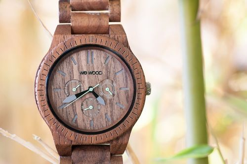 Introducing the Kappa Nut, the newest watch in WeWOODâeuro(TM)s line of eco-friendly accessories. Made from 100% natural walnut wood, this gorgeous timepiece features premium mulitfuntion Miyota movements. Perhaps itâeuro(TM)s best feature, however, is that WeWOOD plants a tree for every watch sold! (PRNewsFoto/WeWOOD)