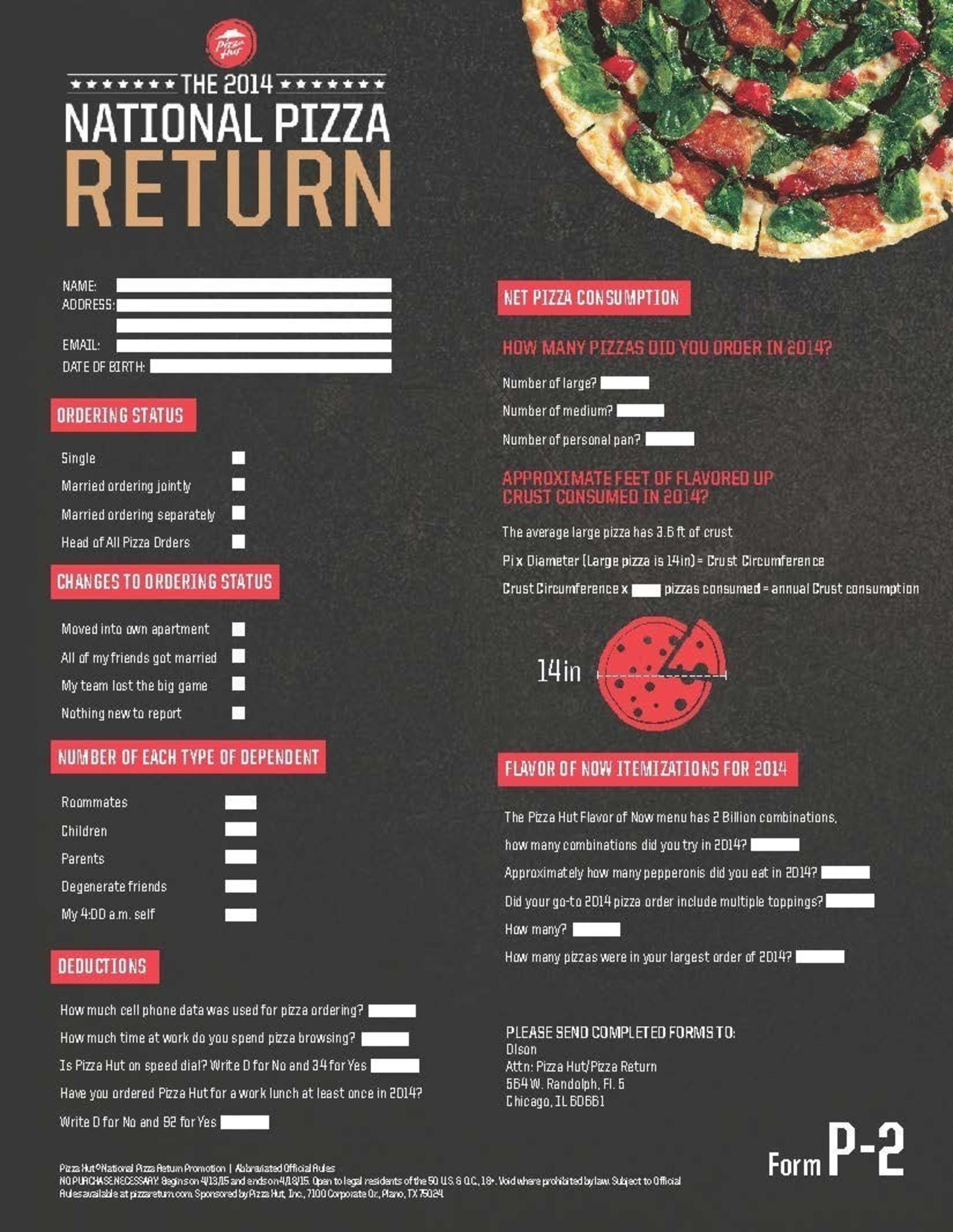 Pizza Hut P2 Form