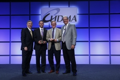 Upsher-Smith DIANA Award Presentation; Left to Right: John Gray (President & CEO, HDMA), Brad Leonard (Director of National Accounts, Upsher-Smith), Jim Maahs (Sr. Director, Commercial Operations, Upsher-Smith), David Neu (President, AmeriSourceBergen Drug Corp). (PRNewsFoto/Upsher-Smith Laboratories, Inc.)