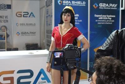 The G2A Stand attracted media, photographers and brilliant cosplayers (PRNewsFoto/G2A)