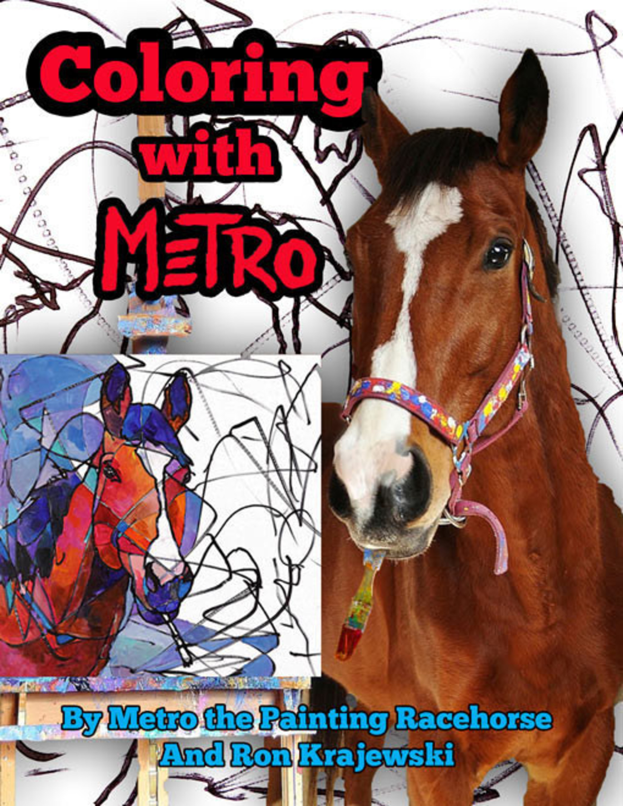 Pen in teeth, Metro the Painting Racehorse autographs his new, original coloring book