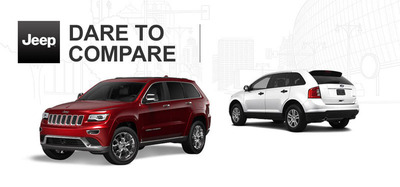 The 2013 Ford Edge bravely puts its capabilities to the test against the award-winning 2014 Jeep Grand Cherokee.  (PRNewsFoto/Ingram Park CJD)