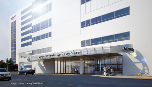 Rendering of new 11-story, 280,000-square-foot Tower Two building at Simone Development's Hutchinson Metro Center in the Pelham Bay section of the Bronx that Montefiore Medical Center will lease in its entirety upon completion in third quarter of 2014. Image Courtesy of Array Architects.  (PRNewsFoto/Simone Development Companies)