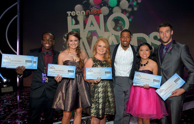 HOLLYWOOD, CA - NOVEMBER 17:  (L-R) 2012 HALO Award Honorees Raymone George, Allyson Ahlstrom, Taylor Waters, TeenNick Chairman and HALO Awards host Nick Cannon, 2012 HALO Award Honorees Kylie Lan Tumiatti and Matt Ferguson attend Nickelodeon's 2012 TeenNick HALO Awards at Hollywood Palladium on November 17, 2012 in Hollywood, California. The show premieres on Monday, November 19th, 8:00p.m. (ET) on Nick at Nite.  (PRNewsFoto/Nickelodeon,Charley Gallay)