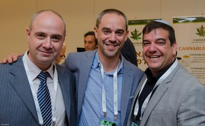 From left to right: Dr. Tamir Gedo CEO Breath of Life, Jason Ryker Co-founder and CFO of iCAN - Israel Cannabis and Saul Kaye Co-founder and CEO of iCAN - Israel Cannabis. (Credit: Ilyan Marshak)