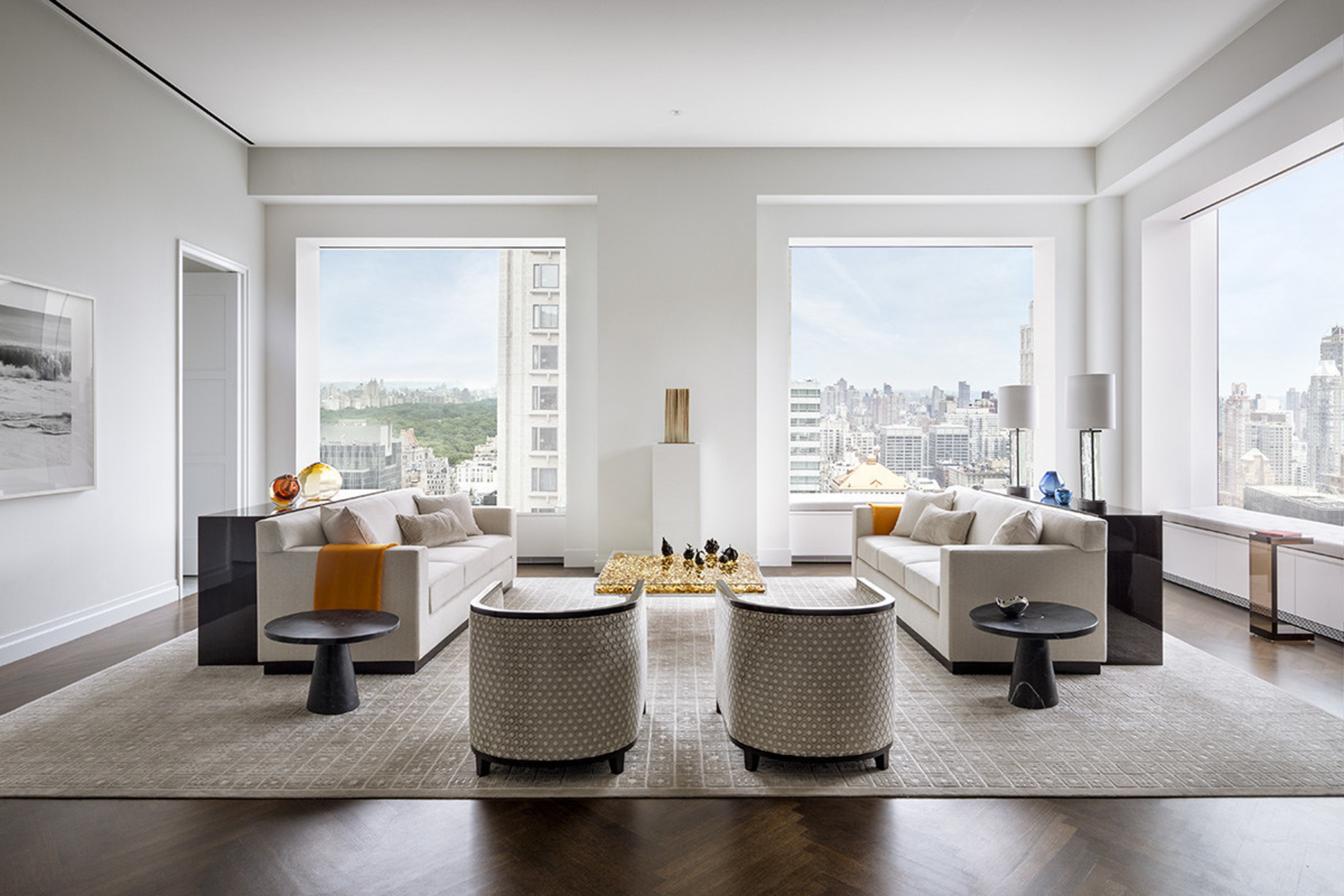 Living room in the model residence at 432 Park Avenue. Photo by Scott Frances for CIM Group & Macklowe Properties.
