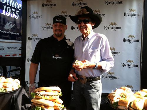 Mike Shillinger serves Richard Petty his winning Kretschmar recipe.  (PRNewsFoto/Kretschmar Deli)